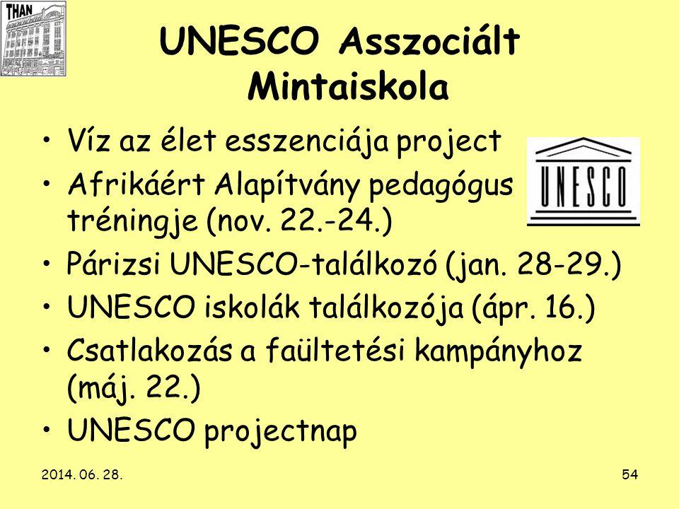 2014. 06. 28.54 UNESCO Asszociált Mintaiskola •Víz az élet esszenciája project •Afrikáért Alapítvány pedagógus tréningje (nov. 22.-24.) •Párizsi UNESC