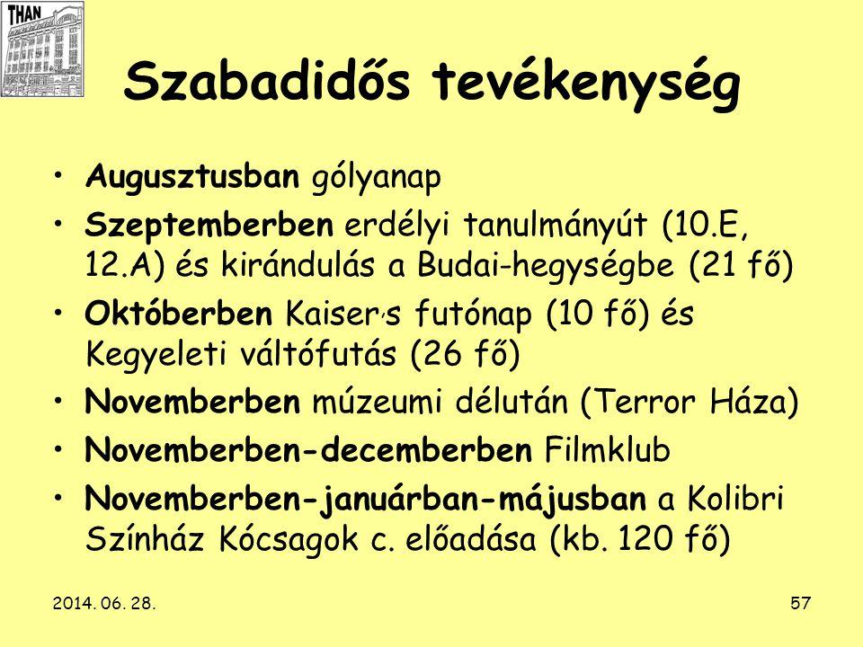 2014. 06. 28.57 Szabadidős tevékenység •Augusztusban gólyanap •Szeptemberben erdélyi tanulmányút (10.E, 12.A) és kirándulás a Budai-hegységbe (21 fő)