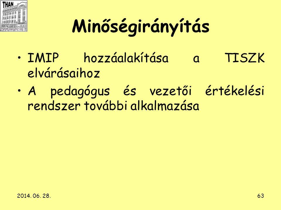 2014. 06. 28.63 Minőségirányítás •IMIP hozzáalakítása a TISZK elvárásaihoz •A pedagógus és vezetői értékelési rendszer további alkalmazása