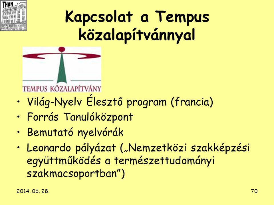 2014. 06. 28.70 Kapcsolat a Tempus közalapítvánnyal •Világ-Nyelv Élesztő program (francia) •Forrás Tanulóközpont •Bemutató nyelvórák •Leonardo pályáza