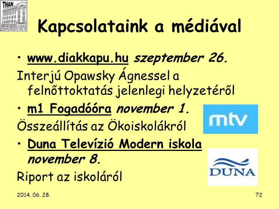 2014. 06. 28.72 Kapcsolataink a médiával •www.diakkapu.hu szeptember 26. Interjú Opawsky Ágnessel a felnőttoktatás jelenlegi helyzetéről •m1 Fogadóóra