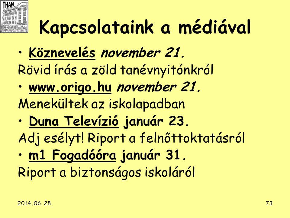 2014. 06. 28.73 Kapcsolataink a médiával •Köznevelés november 21. Rövid írás a zöld tanévnyitónkról •www.origo.hu november 21. Menekültek az iskolapad