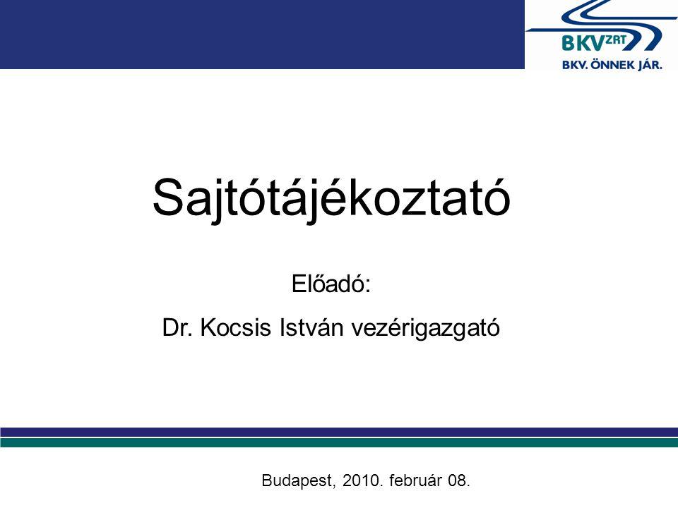 Előadó: Dr. Kocsis István vezérigazgató Budapest, 2010. február 08. Sajtótájékoztató