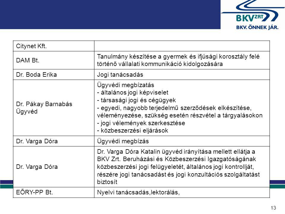 13 Citynet Kft. DAM Bt. Tanulmány készítése a gyermek és ifjúsági korosztály felé történő vállalati kommunikáció kidolgozására Dr. Boda ErikaJogi taná
