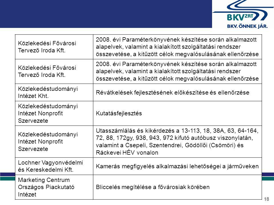 18 Közlekedési Fővárosi Tervező Iroda Kft. 2008. évi Paraméterkönyvének készítése során alkalmazott alapelvek, valamint a kialakított szolgáltatási re