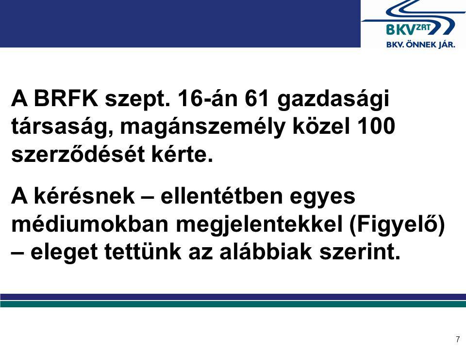 7 A BRFK szept. 16-án 61 gazdasági társaság, magánszemély közel 100 szerződését kérte. A kérésnek – ellentétben egyes médiumokban megjelentekkel (Figy