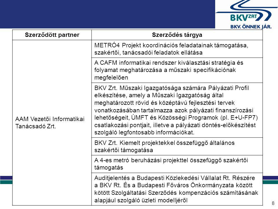 8 Szerződött partnerSzerződés tárgya AAM Vezetői Informatikai Tanácsadó Zrt. METRÓ4 Projekt koordinációs feladatainak támogatása, szakértői, tanácsadó