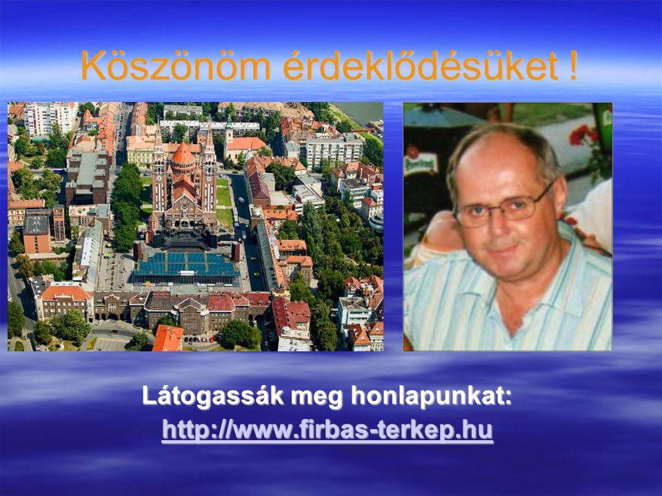 Köszönöm érdeklődésüket ! Látogassák meg honlapunkat: http://www.firbas-terkep.hu