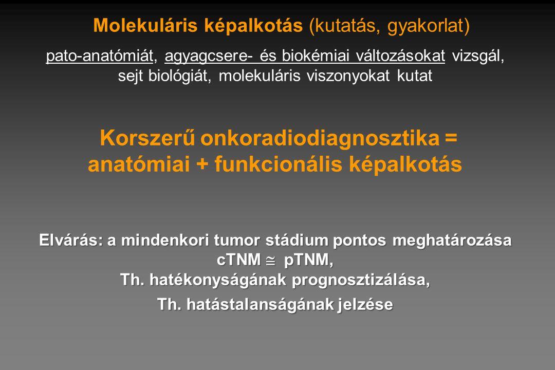 Elvárás: a mindenkori tumor stádium pontos meghatározása cTNM  pTNM, Th. hatékonyságának prognosztizálása, Th. hatástalanságának jelzése pato-anatómi