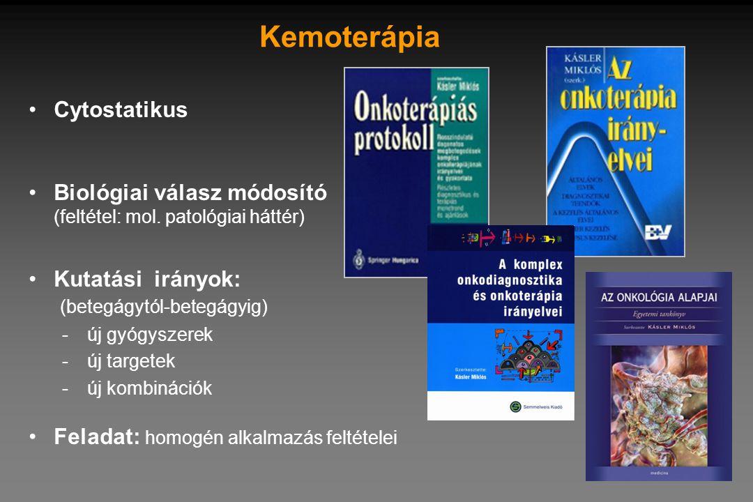 Kemoterápia •Cytostatikus •Biológiai válasz módosító (feltétel: mol. patológiai háttér) •Kutatási irányok: (betegágytól-betegágyig) -új gyógyszerek -ú