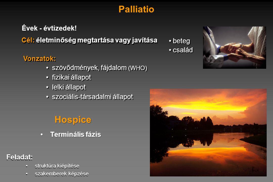 • beteg • család • beteg • család Cél: életminőség megtartása vagy javítása Palliatio • szövődmények, fájdalom (WHO) • fizikai állapot • lelki állapot