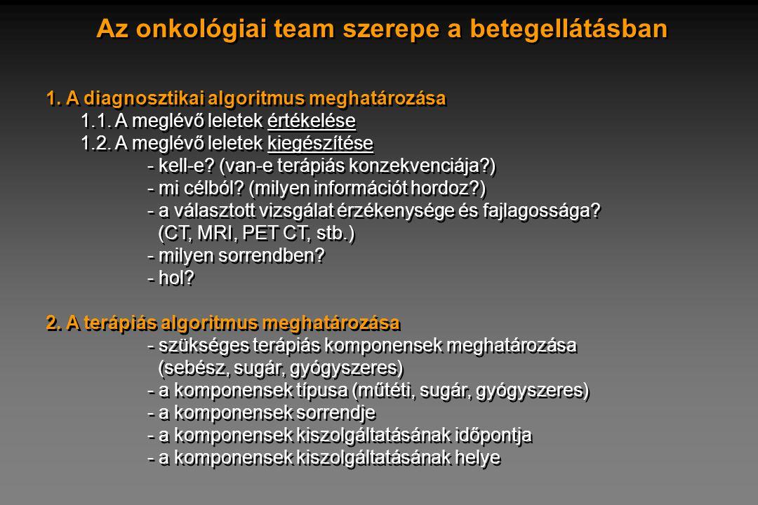 Az onkológiai team szerepe a betegellátásban 1. A diagnosztikai algoritmus meghatározása 1.1. A meglévő leletek értékelése 1.2. A meglévő leletek kieg