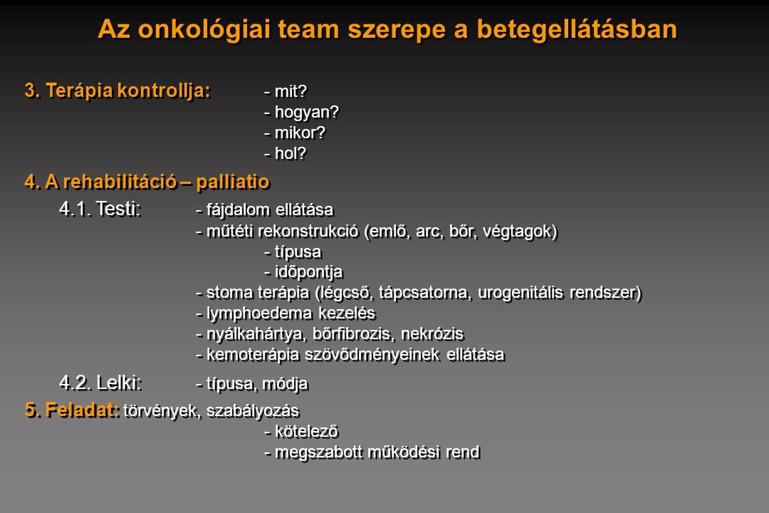 Az onkológiai team szerepe a betegellátásban 3. Terápia kontrollja: - mit? - hogyan? - mikor? - hol? 4. A rehabilitáció – palliatio 4.1. Testi: - fájd