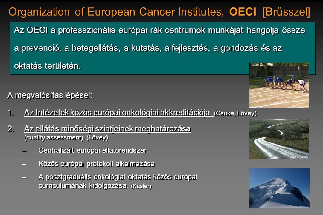 Organization of European Cancer Institutes, OECI [Brüsszel] Az OECI a professzionális európai rák centrumok munkáját hangolja össze a prevenció, a bet