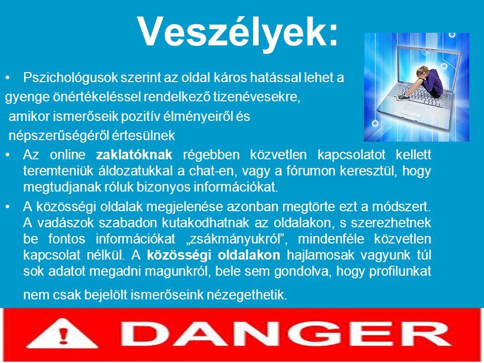 Veszélyek: •Pszichológusok szerint az oldal káros hatással lehet a gyenge önértékeléssel rendelkező tizenévesekre, amikor ismerőseik pozitív élményeir