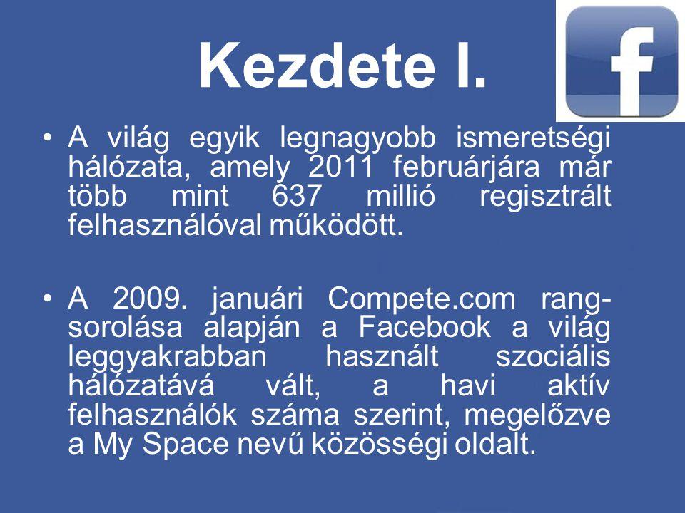 Kezdete I. •A világ egyik legnagyobb ismeretségi hálózata, amely 2011 februárjára már több mint 637 millió regisztrált felhasználóval működött. •A 200