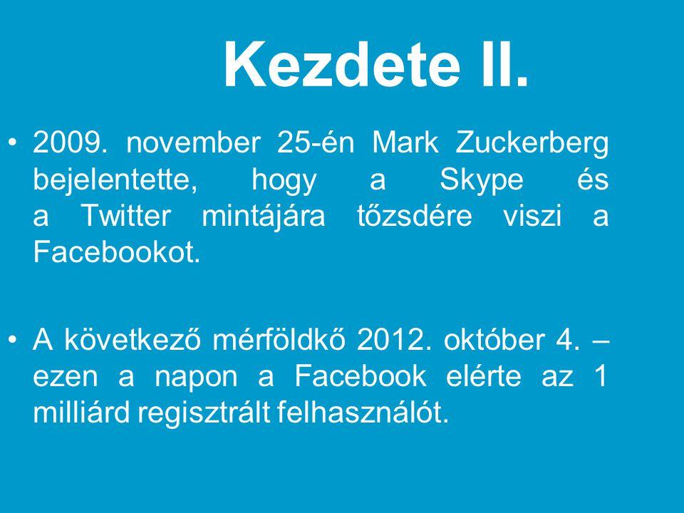 Kezdete II. •2009. november 25-én Mark Zuckerberg bejelentette, hogy a Skype és a Twitter mintájára tőzsdére viszi a Facebookot. •A következő mérföldk