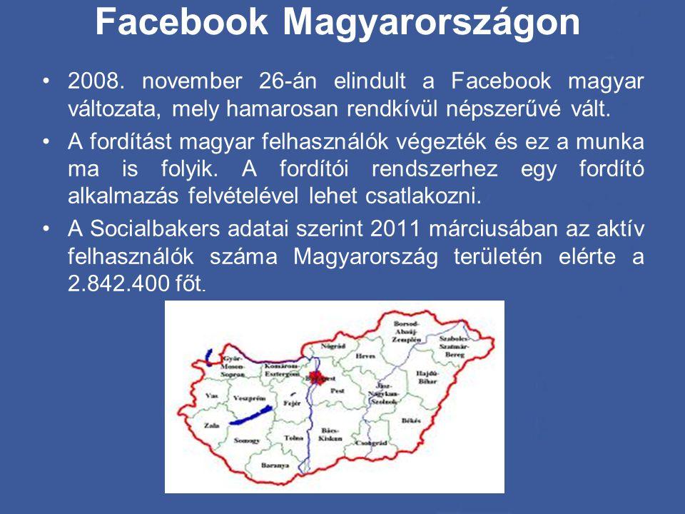 Facebook Magyarországon •2008. november 26-án elindult a Facebook magyar változata, mely hamarosan rendkívül népszerűvé vált. •A fordítást magyar felh