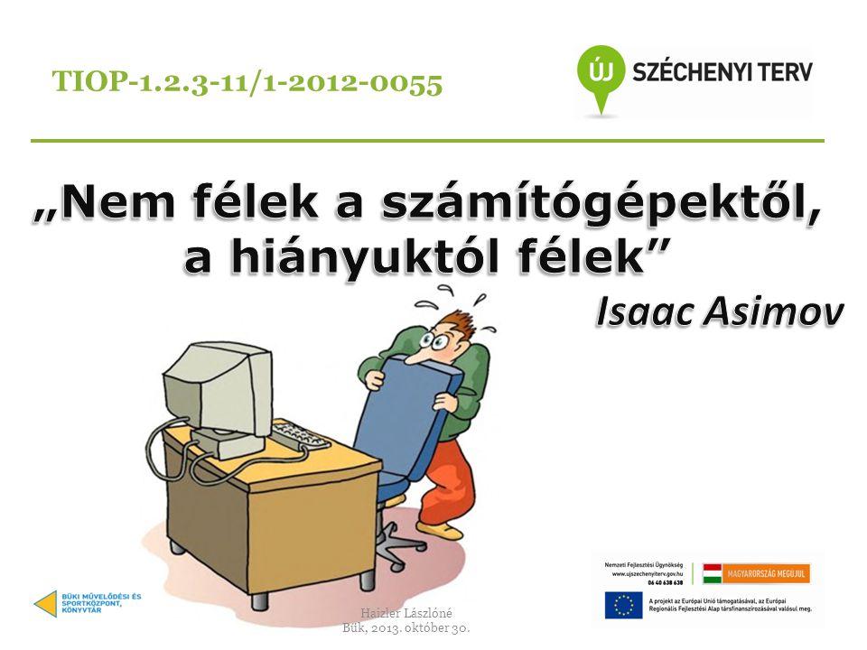 TIOP-1.2.3-11/1-2012-0055 Haizler Lászlóné Bük, 2013. október 30.