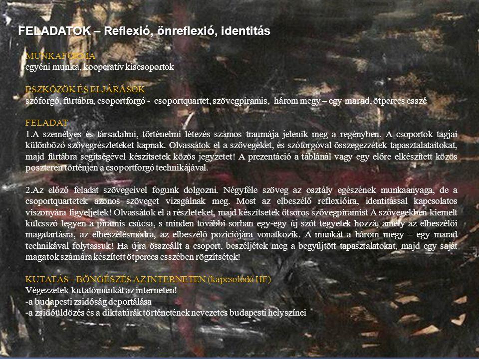 FELADATOK – Reflexió, önreflexió, identitás MUNKAFORMA egyéni munka, kooperatív kiscsoportok ESZKÖZÖK ÉS ELJÁRÁSOK szóforgó, fürtábra, csoportforgó -