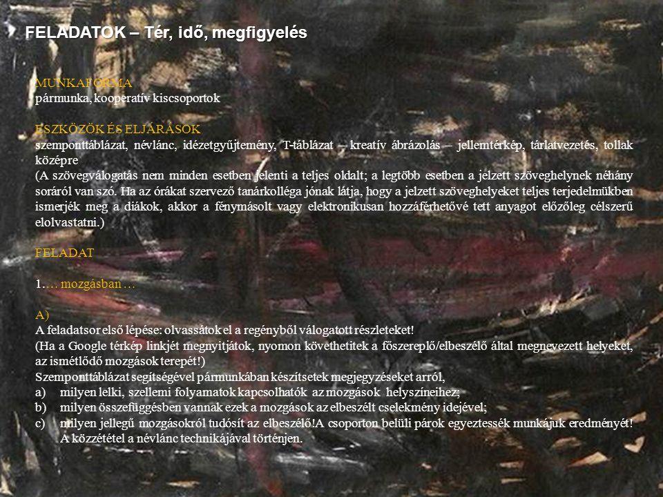 FELADATOK – Tér, idő, megfigyelés MUNKAFORMA pármunka, kooperatív kiscsoportok ESZKÖZÖK ÉS ELJÁRÁSOK szemponttáblázat, névlánc, idézetgyűjtemény, T-tá