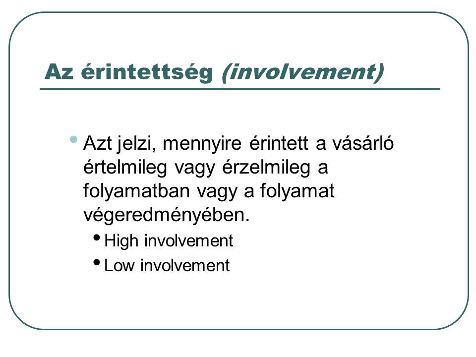 Az érintettség (involvement) • Azt jelzi, mennyire érintett a vásárló értelmileg vagy érzelmileg a folyamatban vagy a folyamat végeredményében. • High