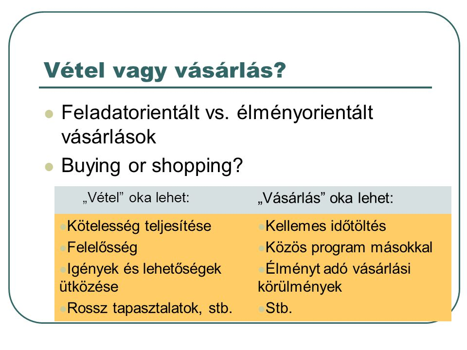 """Vétel vagy vásárlás?  Feladatorientált vs. élményorientált vásárlások  Buying or shopping? """"Vétel"""" oka lehet: """"Vásárlás"""" oka lehet:  Kötelesség tel"""