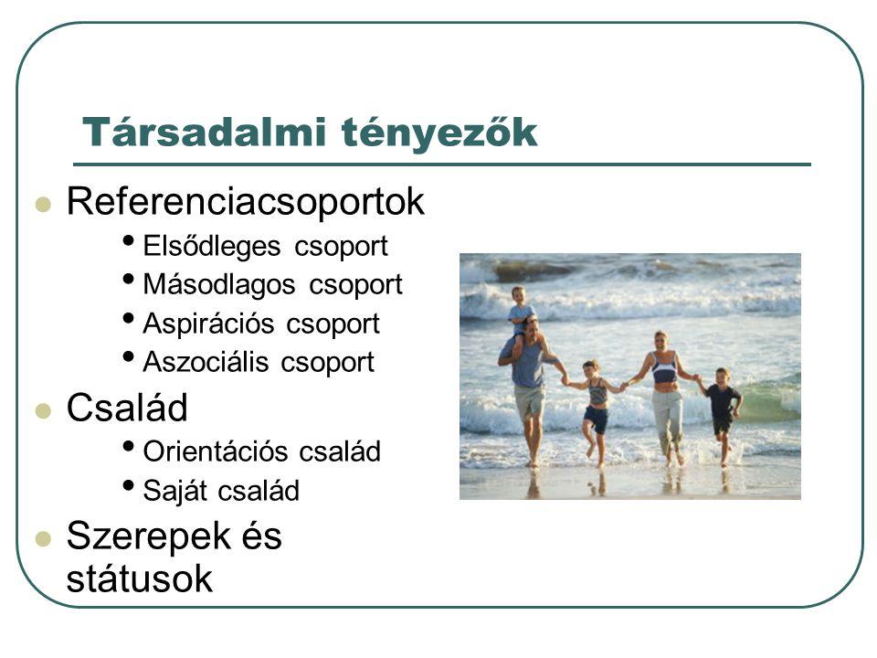Társadalmi tényezők  Referenciacsoportok • Elsődleges csoport • Másodlagos csoport • Aspirációs csoport • Aszociális csoport  Család • Orientációs c