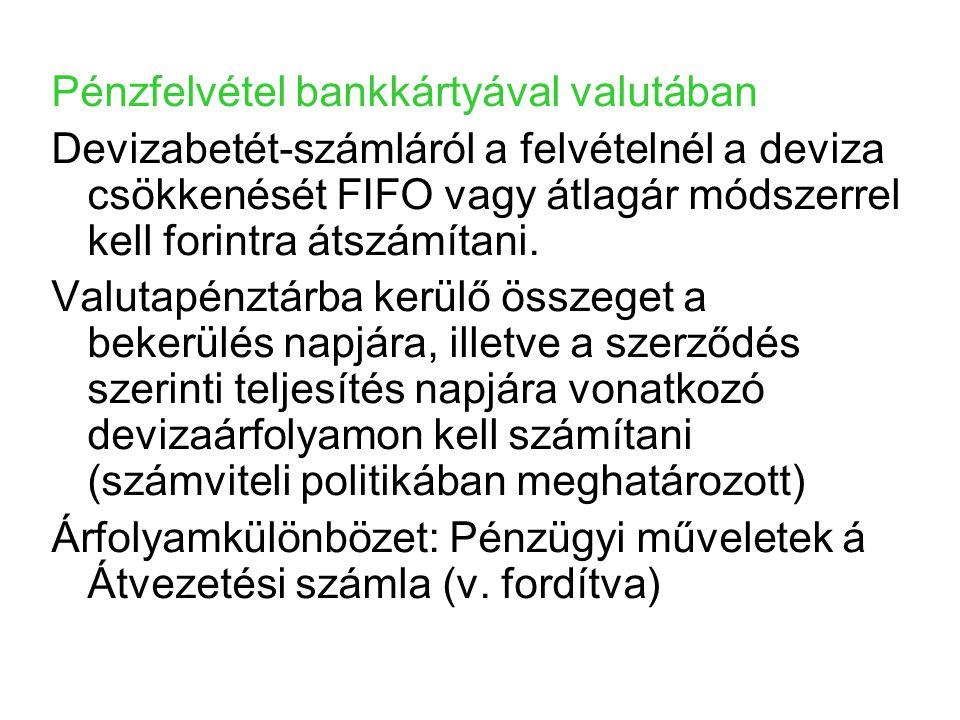 Pénzfelvétel bankkártyával valutában Devizabetét-számláról a felvételnél a deviza csökkenését FIFO vagy átlagár módszerrel kell forintra átszámítani.