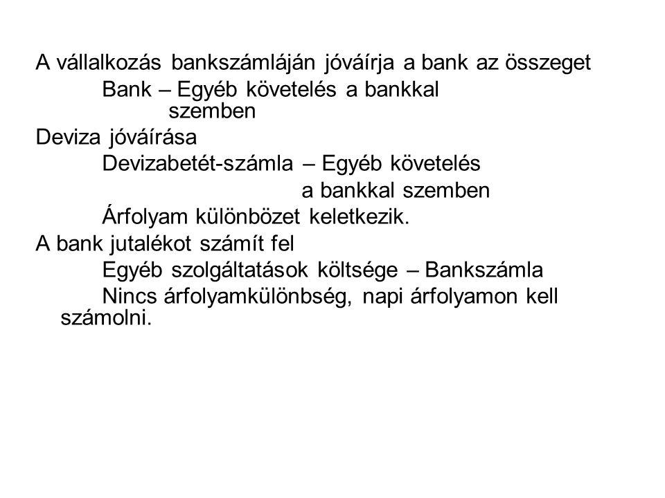A vállalkozás bankszámláján jóváírja a bank az összeget Bank – Egyéb követelés a bankkal szemben Deviza jóváírása Devizabetét-számla – Egyéb követelés
