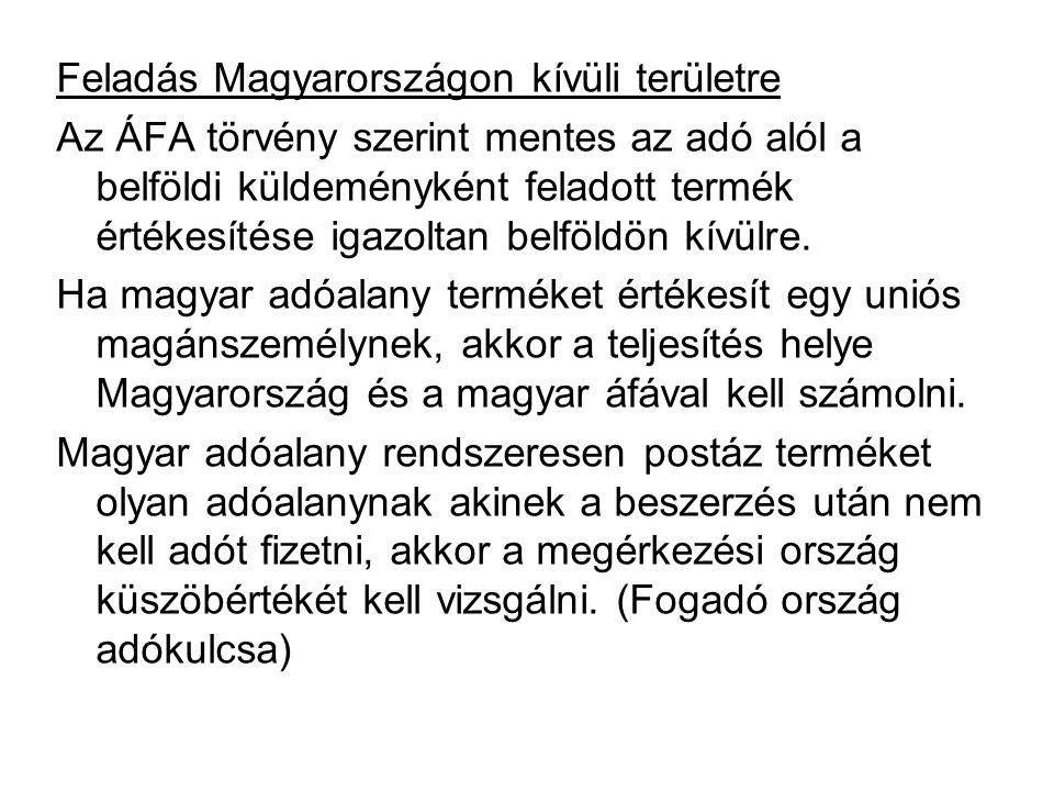 Feladás Magyarországon kívüli területre Az ÁFA törvény szerint mentes az adó alól a belföldi küldeményként feladott termék értékesítése igazoltan belf