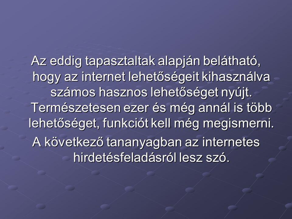 Az eddig tapasztaltak alapján belátható, hogy az internet lehetőségeit kihasználva számos hasznos lehetőséget nyújt.