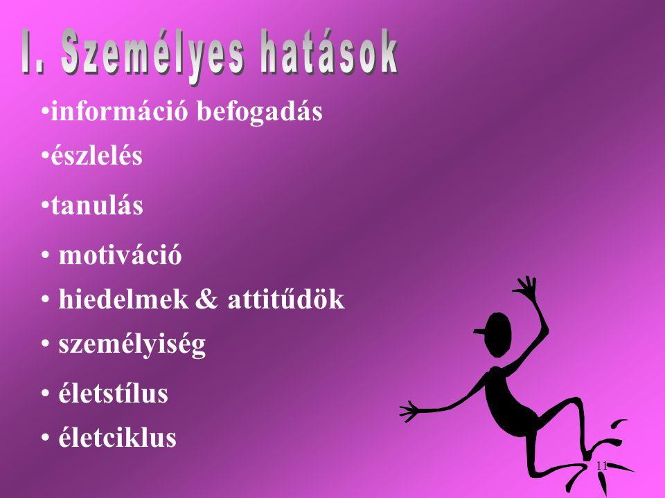 11 • •információ befogadás • •észlelés • •tanulás • • motiváció • • hiedelmek & attitűdök • • személyiség • • életstílus • • életciklus