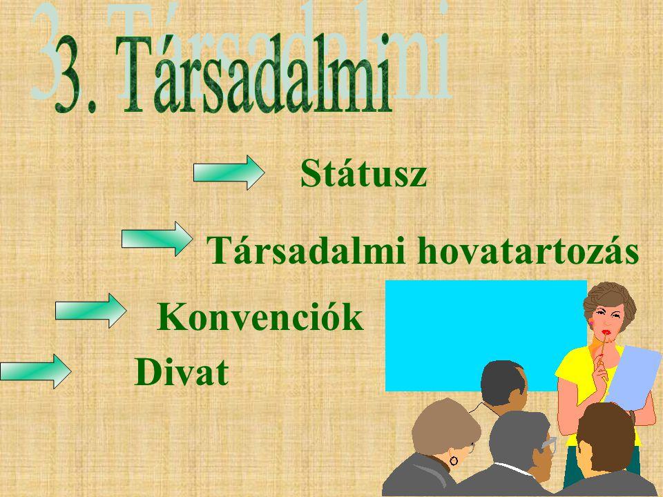 8 Státusz Társadalmi hovatartozás Konvenciók Divat