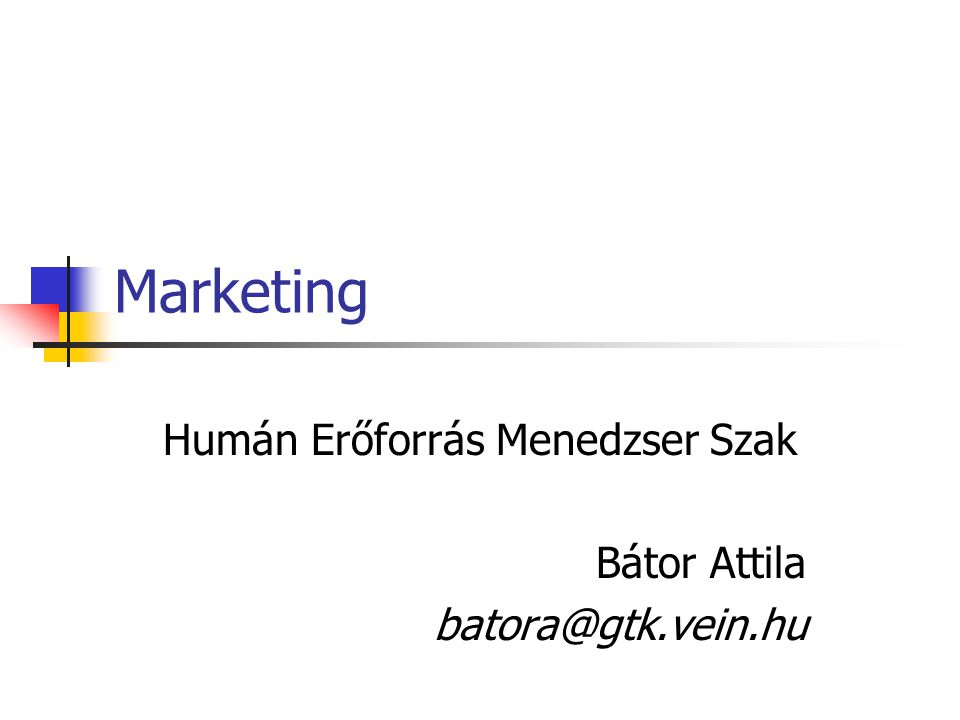 Marketing Humán Erőforrás Menedzser Szak Bátor Attila batora@gtk.vein.hu