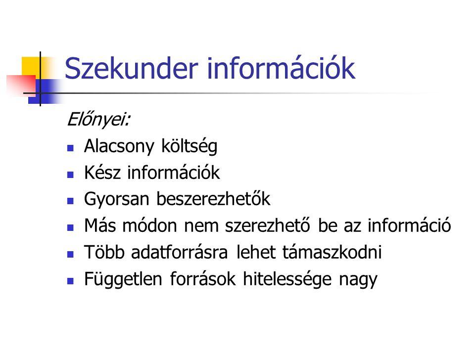 Szekunder információk Előnyei:  Alacsony költség  Kész információk  Gyorsan beszerezhetők  Más módon nem szerezhető be az információ  Több adatfo