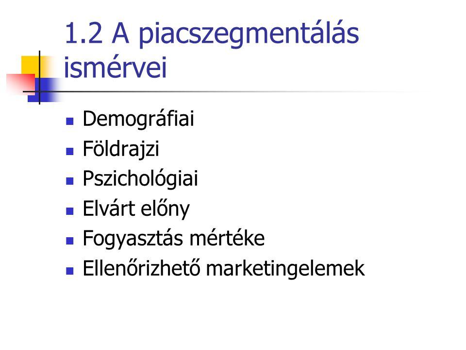 1.2 A piacszegmentálás ismérvei  Demográfiai  Földrajzi  Pszichológiai  Elvárt előny  Fogyasztás mértéke  Ellenőrizhető marketingelemek
