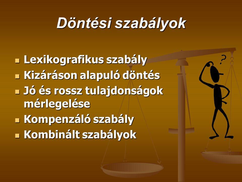 Döntési szabályok  Lexikografikus szabály  Kizáráson alapuló döntés  Jó és rossz tulajdonságok mérlegelése  Kompenzáló szabály  Kombinált szabály