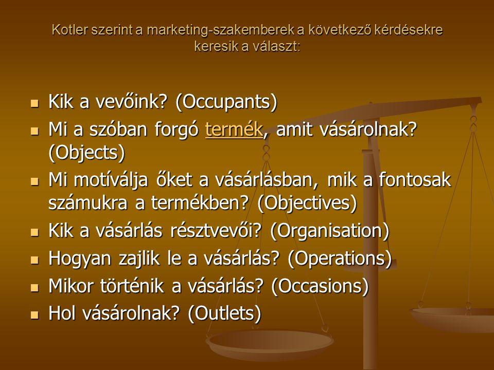 Kotler szerint a marketing-szakemberek a következő kérdésekre keresik a választ:  Kik a vevőink? (Occupants)  Mi a szóban forgó termék, amit vásárol