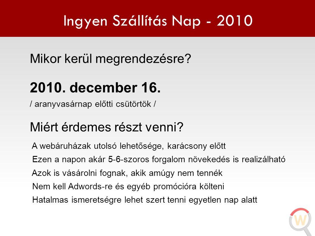 Ingyen Szállítás Nap - 2010 Mikor kerül megrendezésre? 2010. december 16. / aranyvasárnap előtti csütörtök / Miért érdemes részt venni? A webáruházak