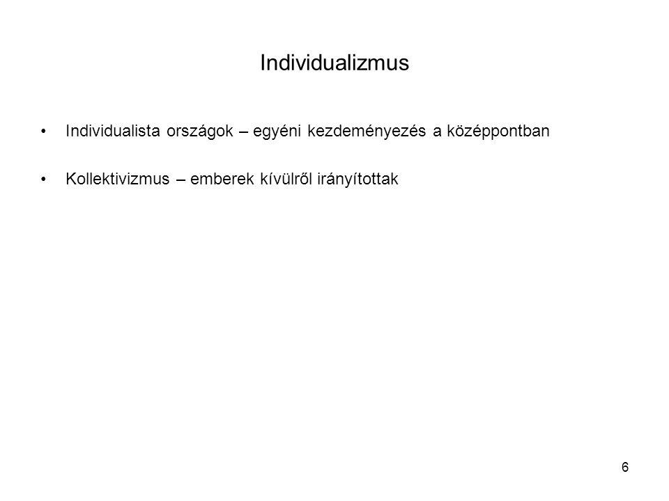 6 Individualizmus •Individualista országok – egyéni kezdeményezés a középpontban •Kollektivizmus – emberek kívülről irányítottak