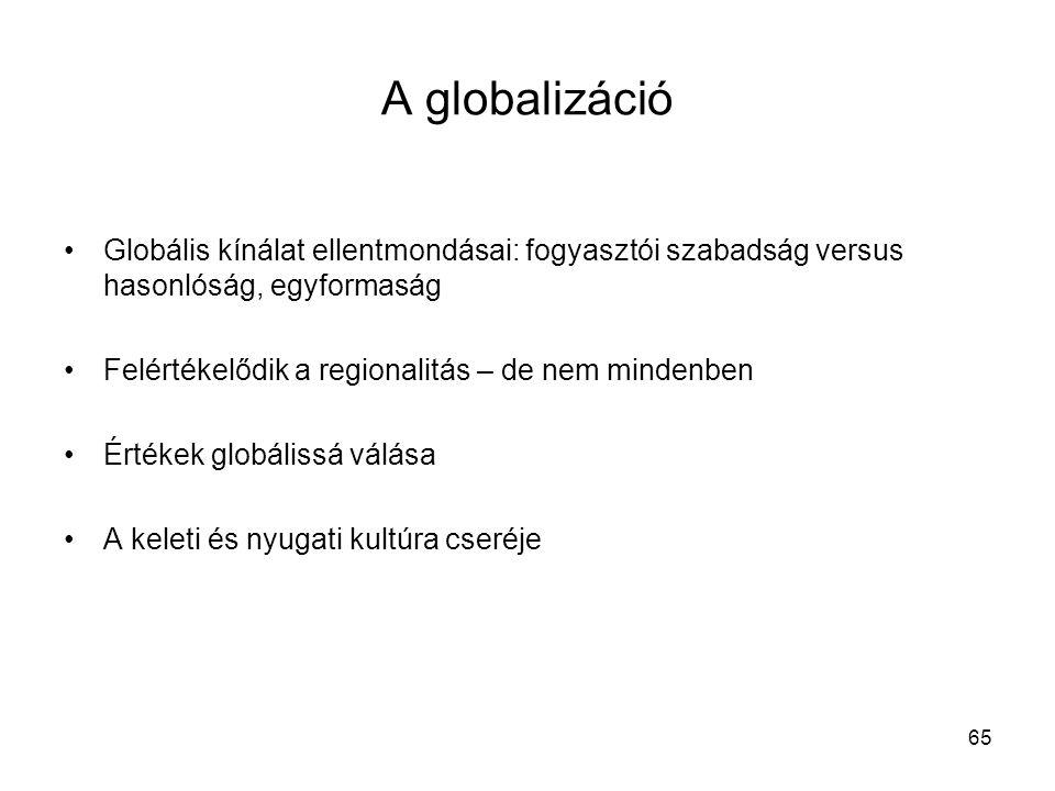 65 A globalizáció •Globális kínálat ellentmondásai: fogyasztói szabadság versus hasonlóság, egyformaság •Felértékelődik a regionalitás – de nem mindenben •Értékek globálissá válása •A keleti és nyugati kultúra cseréje