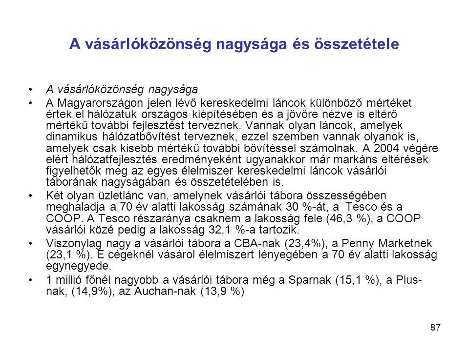 87 A vásárlóközönség nagysága és összetétele •A vásárlóközönség nagysága •A Magyarországon jelen lévő kereskedelmi láncok különböző mértéket értek el hálózatuk országos kiépítésében és a jövőre nézve is eltérő mértékű további fejlesztést terveznek.