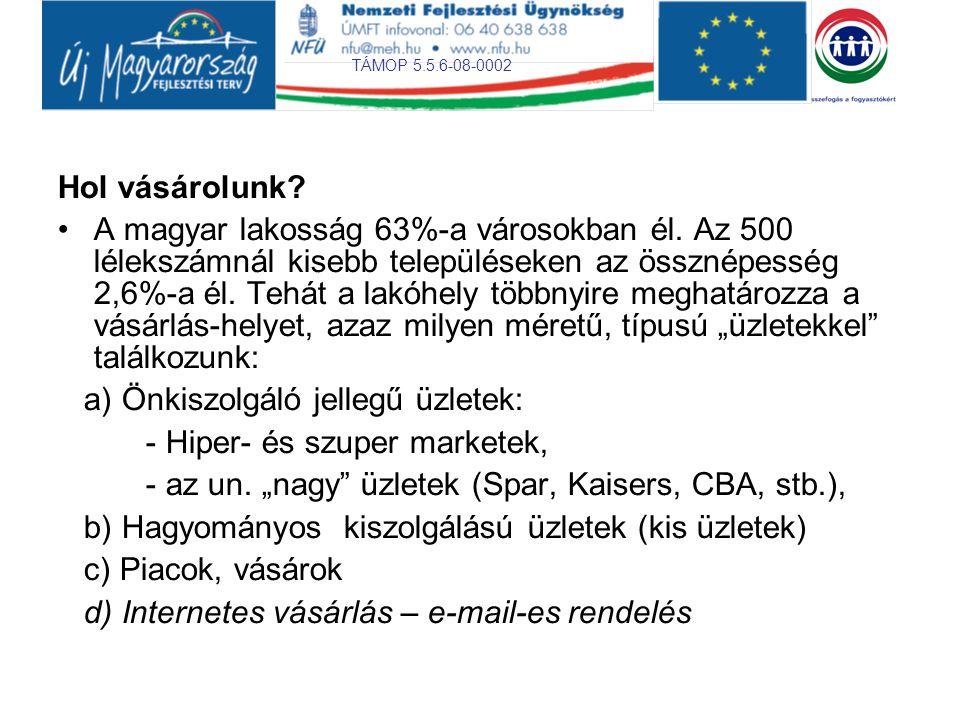 TÁMOP 5.5.6-08-0002 Hol vásárolunk? •A magyar lakosság 63%-a városokban él. Az 500 lélekszámnál kisebb településeken az össznépesség 2,6%-a él. Tehát