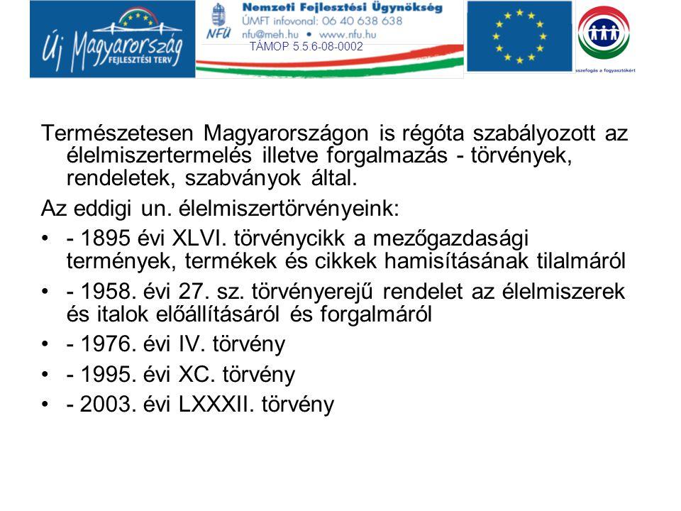 TÁMOP 5.5.6-08-0002 Természetesen Magyarországon is régóta szabályozott az élelmiszertermelés illetve forgalmazás - törvények, rendeletek, szabványok