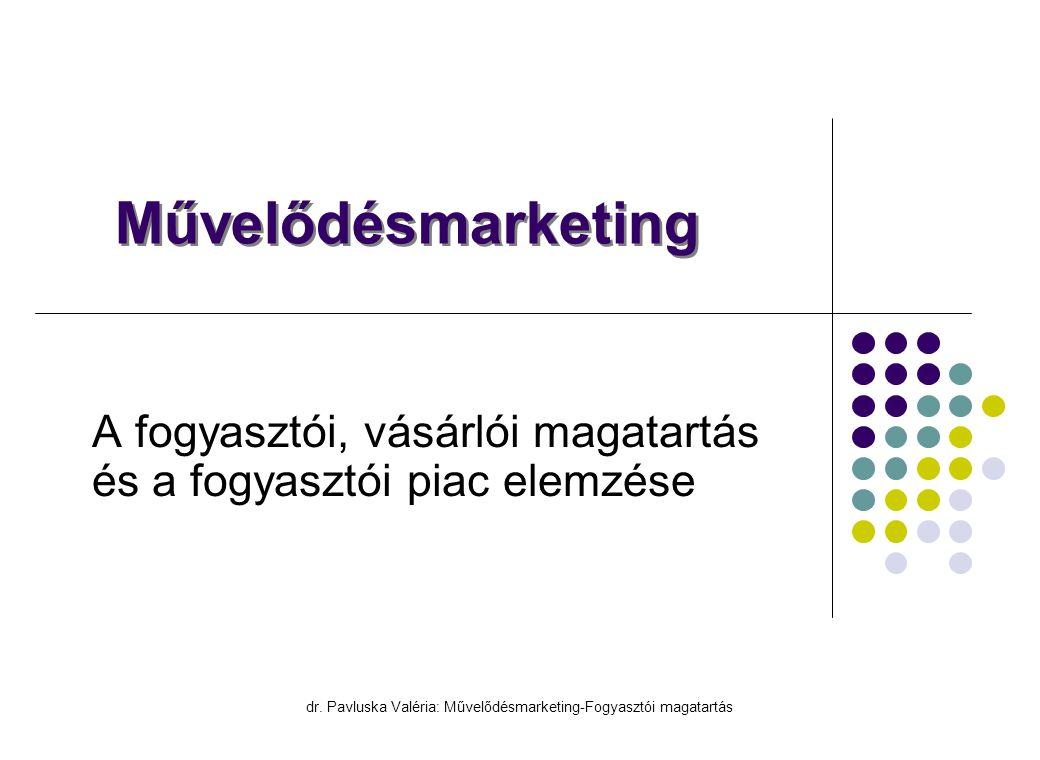 dr. Pavluska Valéria: Művelődésmarketing-Fogyasztói magatartás Művelődésmarketing A fogyasztói, vásárlói magatartás és a fogyasztói piac elemzése