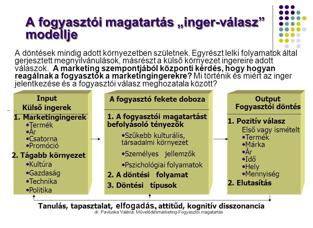 """dr. Pavluska Valéria: Művelődésmarketing-Fogyasztói magatartás A fogyasztói magatartás """"inger-válasz"""" modellje  A döntések mindig adott környezetben"""