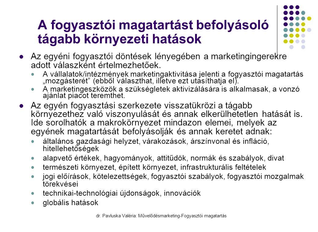 dr. Pavluska Valéria: Művelődésmarketing-Fogyasztói magatartás A fogyasztói magatartást befolyásoló tágabb környezeti hatások  Az egyéni fogyasztói d
