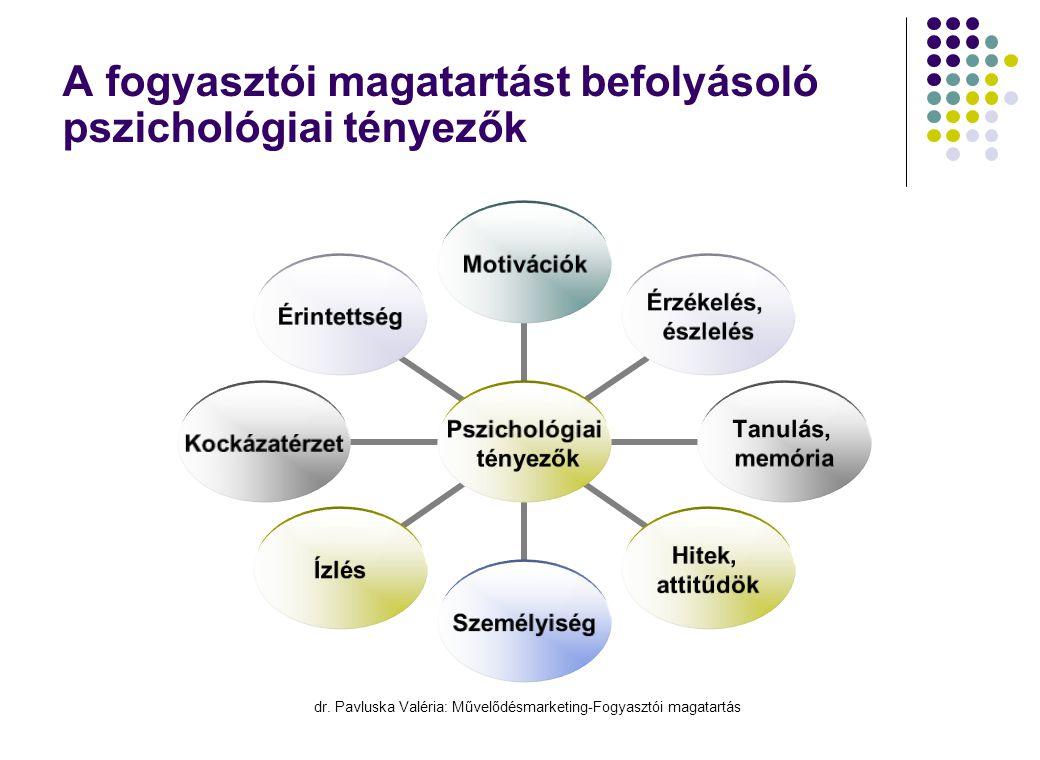 dr. Pavluska Valéria: Művelődésmarketing-Fogyasztói magatartás A fogyasztói magatartást befolyásoló pszichológiai tényezők Pszichológiai tényezők Moti
