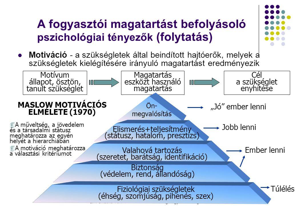 dr. Pavluska Valéria: Művelődésmarketing-Fogyasztói magatartás A fogyasztói magatartást befolyásoló pszichológiai tényezők (folytatás)  Motiváció - a